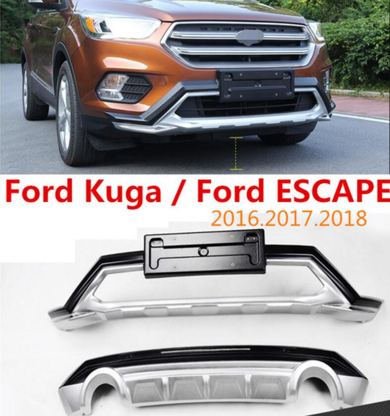 Auto BUMPER GUARD For Ford Kuga ESCAPE 2016.2017.2018 BUMPER Plate High Quality Brand New ABS Front+Rear Car Accessories|Chromium Styling| |  - title=