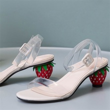 2019 summer women's sandals high quality transparent fabric shoes fashion 5CM strawberry heel open toe sandals стоимость