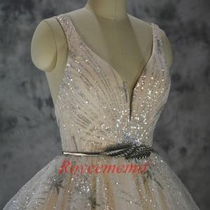 Image 3 - Vestido de Noiva glänzende spitze design hochzeit kleid pailletten spitze brautkleid nach maß fabrik großhandel preis braut kleid