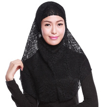 Arab Lace Hijabs Sets Muslim Womens Out Scarf and Inner Cap Two-pieces