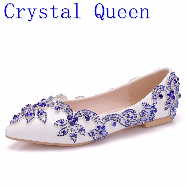 Crystal Queen Lady Shoes Blue Rhinestone Flat Heel Women Shoes Sexy Woman Wedding  Shoes Flats Zapatos