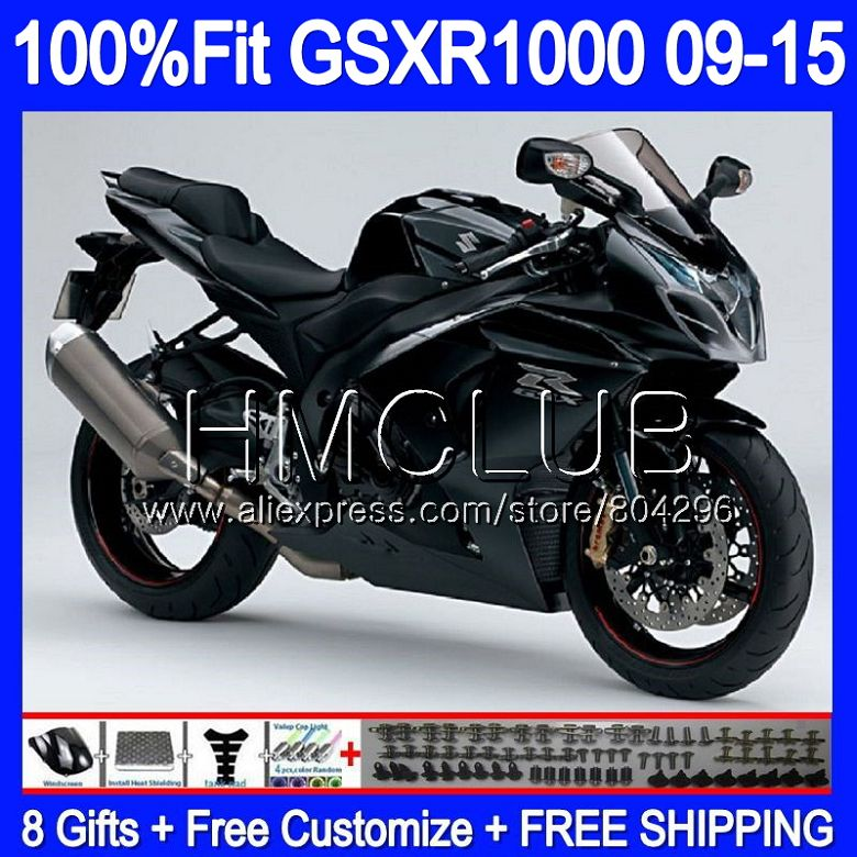 Carénage Brillant noir Pour SUZUKI GSX-R1000 GSXR 1000 09 10 11 12 13 15 36HM. 5 GSX R1000 K9 GSXR1000 2009 2010 2011 2012 2014 2015