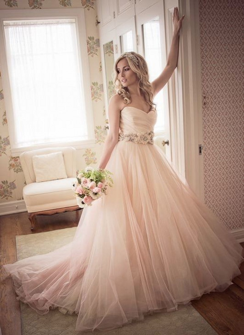 a534f64ca7c3 New Fashion A line Floor Length Blush Wedding Dress 2017 Sweetheart Simple  Tulle Skirt Peach Colored Wedding Dresses Handmade-in Wedding Dresses from  ...