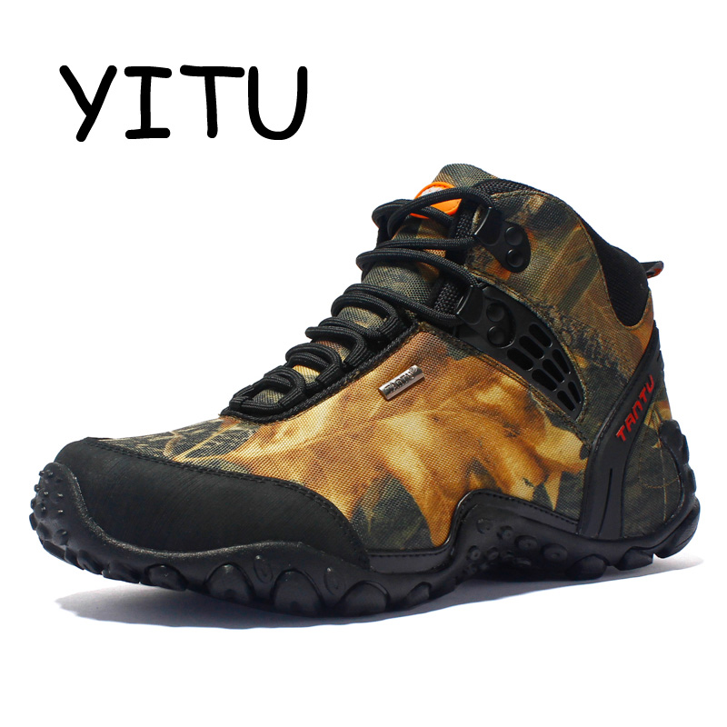 YITU Outdoor Waterproof Canvas Hiking Shoes Anti skid Fishing Boots Breathable Sports Men Shoes Camping Climbing