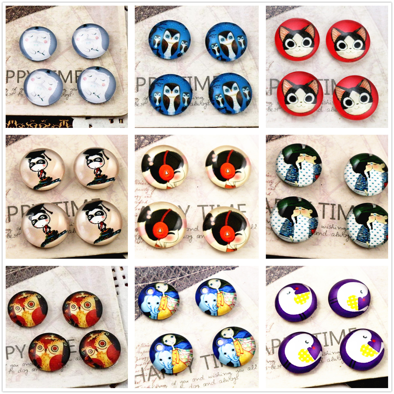 New Fashion  20pcs 12mm Handmade Photo Glass Cabochons (Lovely Series)