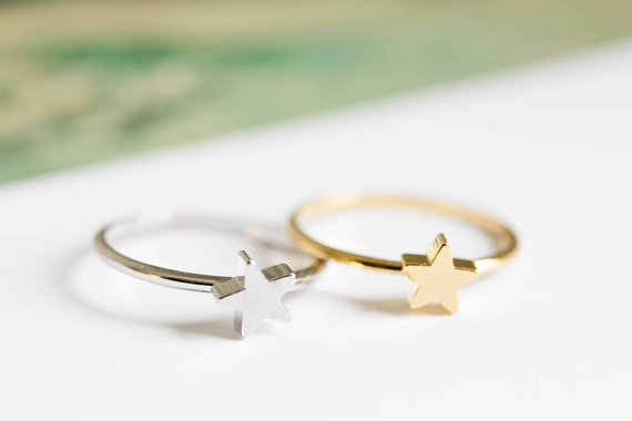 Jisensp New Fashion Little Star Ring Simple Design Geometric Star Wedding Jewelry for Women Girls Birthday Gift bijoux 2019