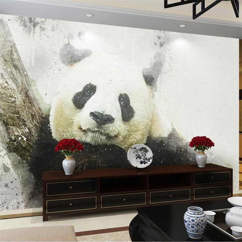 Beibehang Aangepaste Behang Papier Peint Muurschildering 3d Handgeschilderde Aquarel Inkt Stain Grijs Panda Papel De Parede Para Quarto