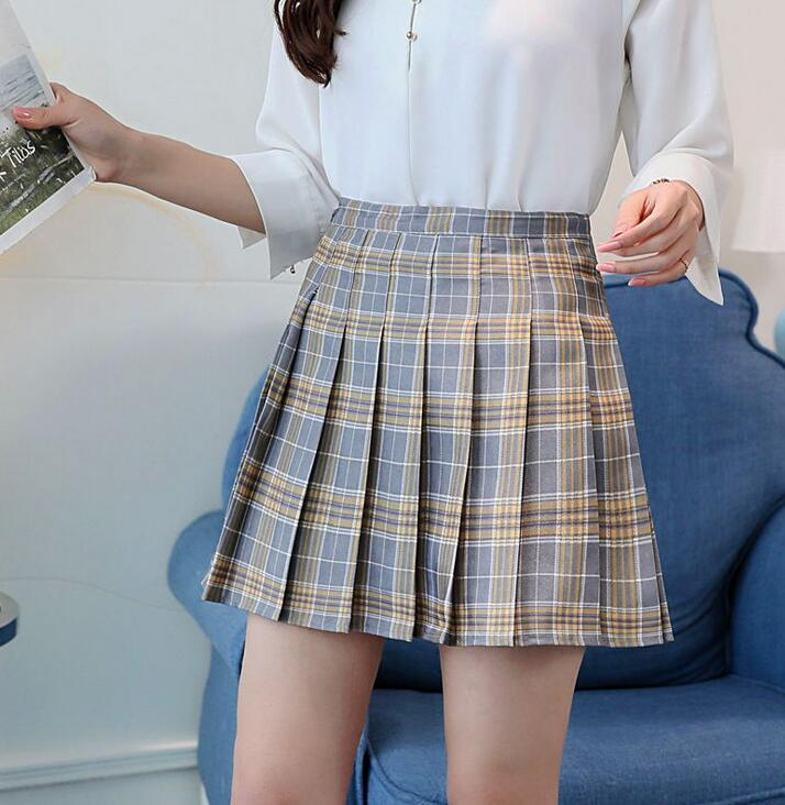 2019 College style cosplay saia New women's Sweet Girls Dance skirt Summer ladies half-length Plaid pleated skirt Korean style