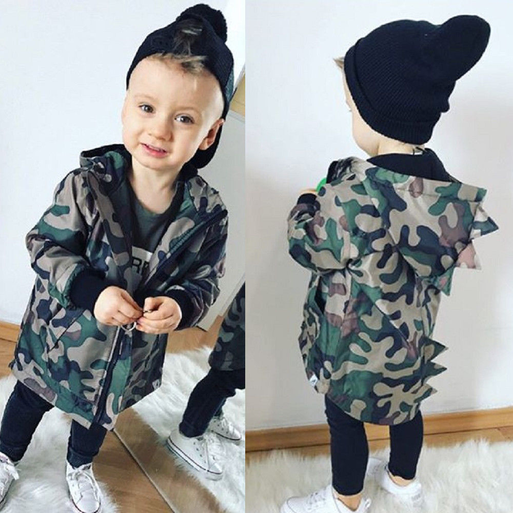 Casual Toddler Kid Baby Boy Camouflage Jacket Dinosaur Zipper Coat Top Hooded Outwear