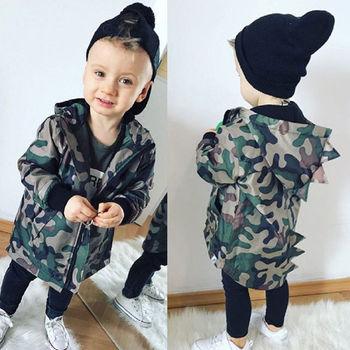 Casual maluch Kid Baby Boy kamuflaż kurtka dinozaur Zipper płaszcz Top z kapturem Outwear tanie i dobre opinie Dzieci Odzież wierzchnia i Płaszcze Kurtki Chłopców Pełne Wagi ciężkiej Czesankowa Hooded Pasuje do rozmiaru Weź swój normalny rozmiar