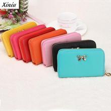 Xiniu Fashion Women Leather Handbags Cute Bowknot Purse Solid Candy Color Wearable Short Wallet Borsetta Donne #0