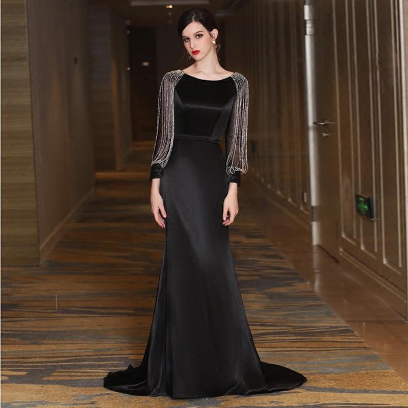 67ca48ee32c41d JaneVini 2018 Sexy Black Long Mother of the Bride Dresses Mermaid Long  Sleeves Beaded Satin Evening Dress Sweep Train Lange Jurk