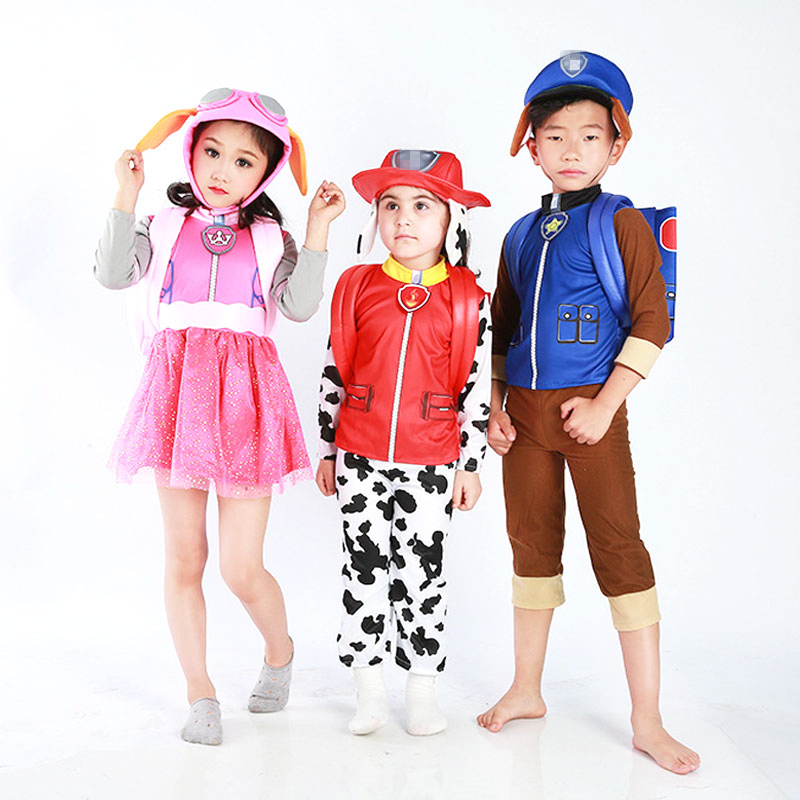New Carnival Patrol dog Costume for Kids Children Marshall Chase Skye Cosplay Costume Boy Girls Halloween Party Role Play