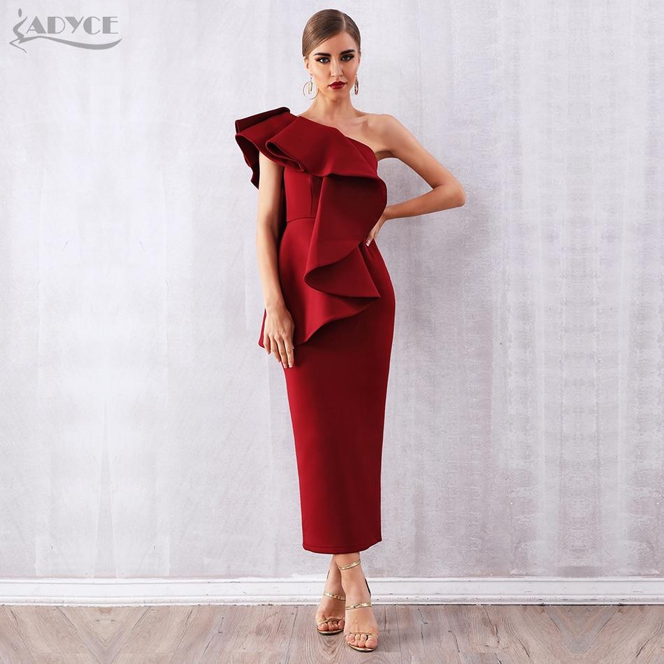 Adyce Summer Women Wine Red Celebrity Party Dress Vestidos 2019 Sexy White Sleeveless Ruffles One Shoulder