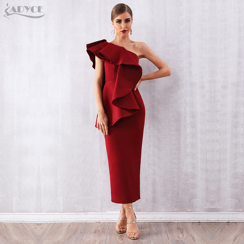 Adyce Summer Women Wine Red Celebrity Party Dress Vestidos 2019 Sexy White Sleeveless Ruffles One Shoulder Bodycon Club Dresses