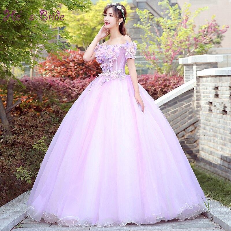 He's Bride Flower Boat Neck Lace Up Up Floor-Length Ball Gown Purple Wedding Dresses Custom Plus Size Gowns Robe De Mariee