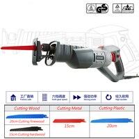 850W Reciprocating Saw 200mm Woodworking Electric Saw 6 Speed Saber Saw Wood Saw Bone Saw (Free 4Pcs Saw Blade ) 6m Power Line