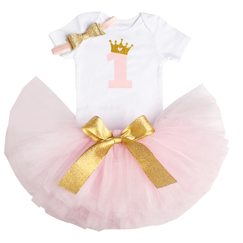 Newborn Baby Girl 1 Year Cake Smash Outfits Set Romper Tutu Headband Infant Toddler Girls 1st Birthday Dress Pink Princess Dress