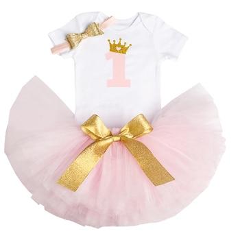 0aa36da59 Recién Nacido bebé niña 1 año pastel Romper conjuntos Romper tutú diadema infantil  niñas 1 er cumpleaños vestido rosa princesa vestido