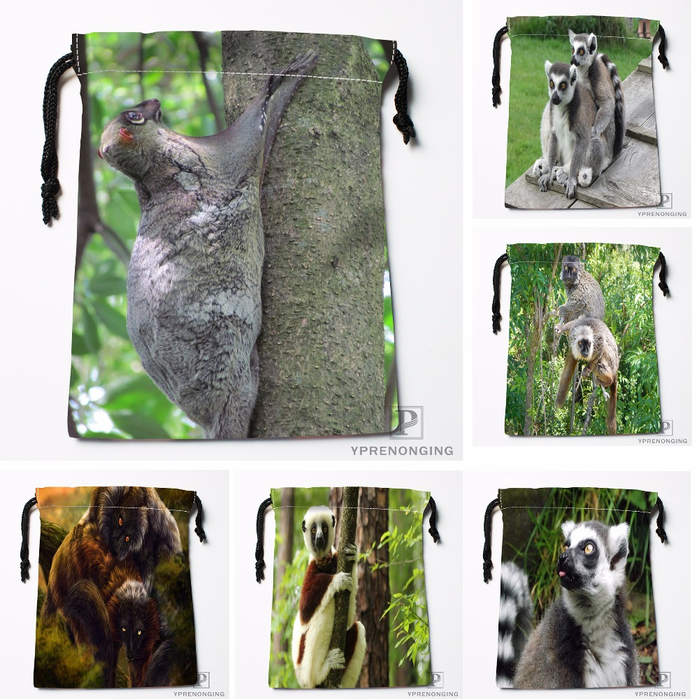 Custom Stoned Lemur At Monkey Drawstring Bags Travel Storage Mini Pouch Swim Hiking Toy Bag Size 18x22cm#0412-04-07