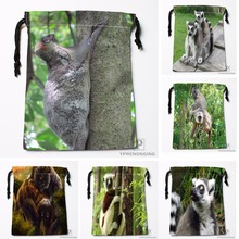Custom Stoned Lemur at Monkey Drawstring Bags Travel Storage Mini Pouch Swim Hiking Toy Bag Size 18x22cm#0412-04-07