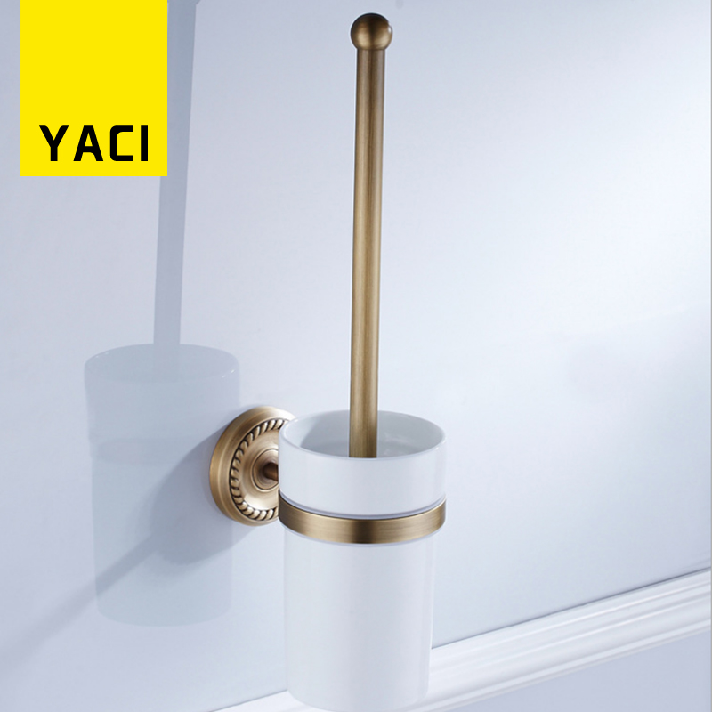 YACI Toilet Brush Holder European Brass Gold Plated Bathroom Products Toilet Brush in Cleaning Brushes Bathroom Accessories--SY luxury gold crystal brass toilet paper holder polished european tissue box roll holder bathroom accessories products