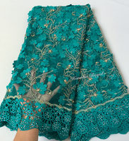 Nigeria Green 5 Yards African French Lace With Real Wax Embroideries Big Cord Lace Fabric Borders