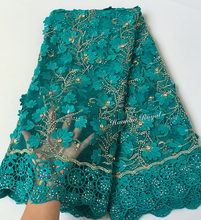 Teal Gold very soft 5 yards African tulle lace fabric with big laser diamonds Guipure lace borders high quality 7426 good choice