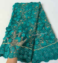 Teal Gold soft 5 yards African tulle lace fabric with big laser diamonds Guipure lace borders high quality 7426 good choice - DISCOUNT ITEM  20% OFF All Category