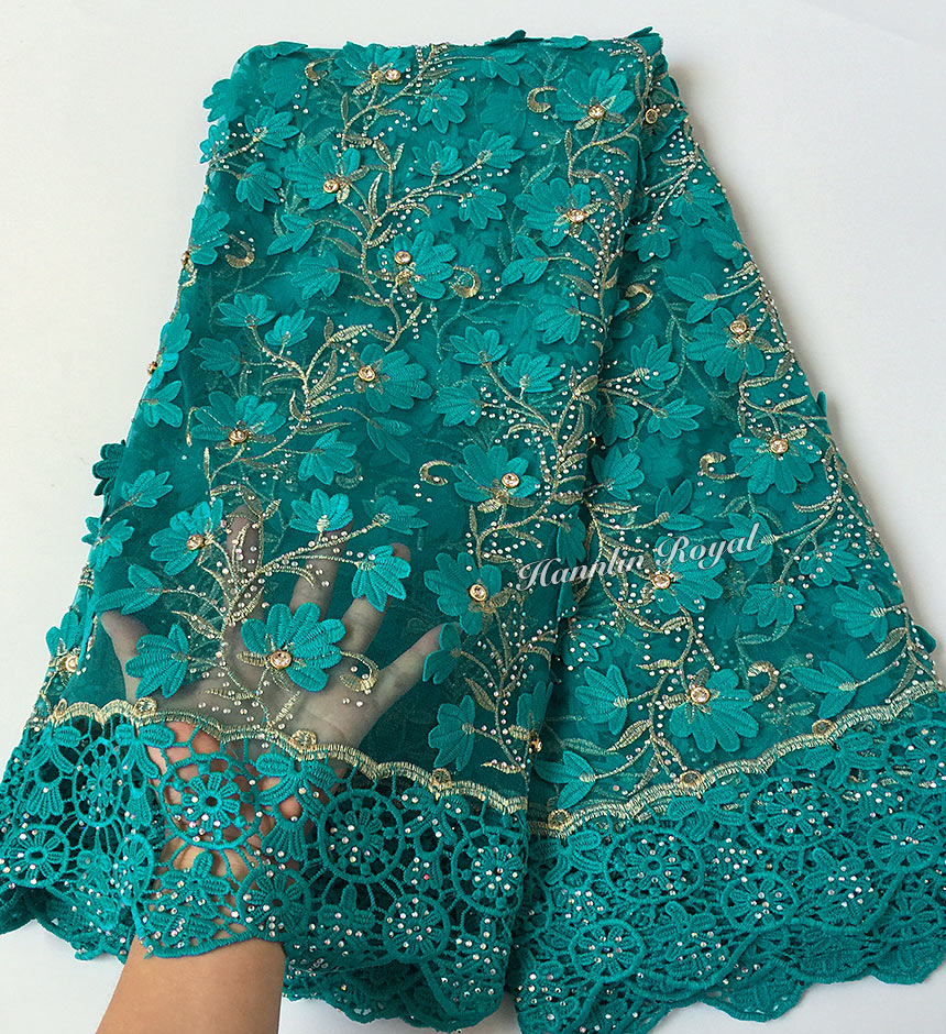 Teal Gold very soft 5 yards African tulle lace fabric with big laser diamonds Guipure lace borders high quality 7426 good choiceTeal Gold very soft 5 yards African tulle lace fabric with big laser diamonds Guipure lace borders high quality 7426 good choice