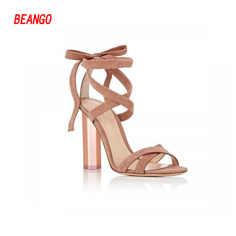 ФОТО BEANGO Women summer sandals sexy cross tied Square High Heels Shoes Clear Crystal Transparent heel Lady Party Shoes pumps