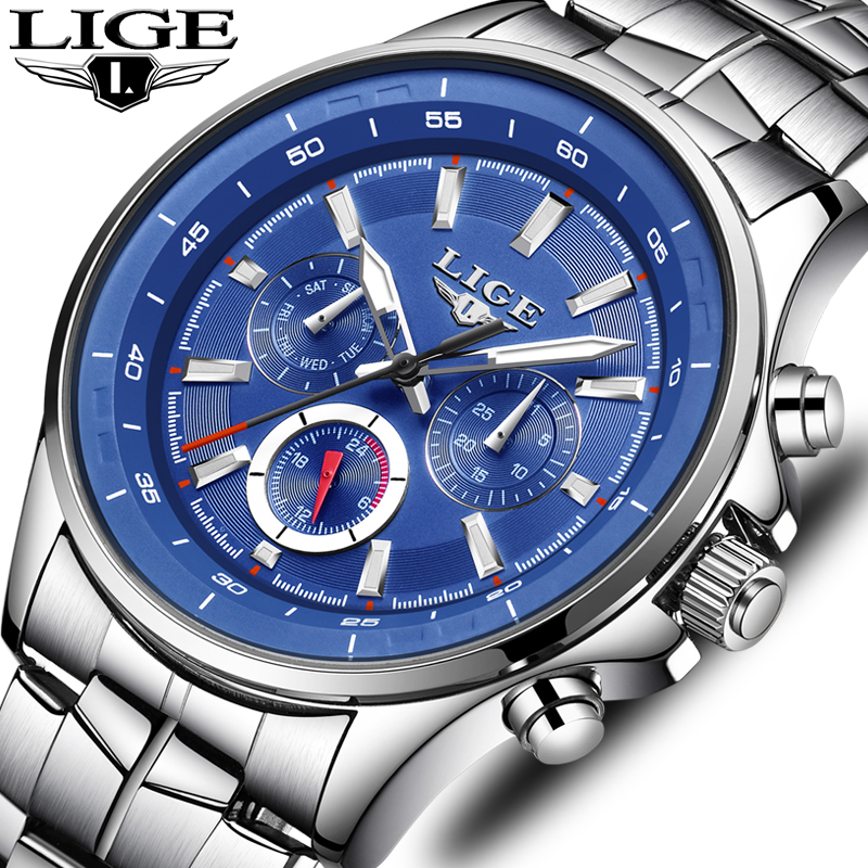 LIGE Mens Watches Waterproof Top Brand Luxury Quartz Watch Men font b Sport b font Watch