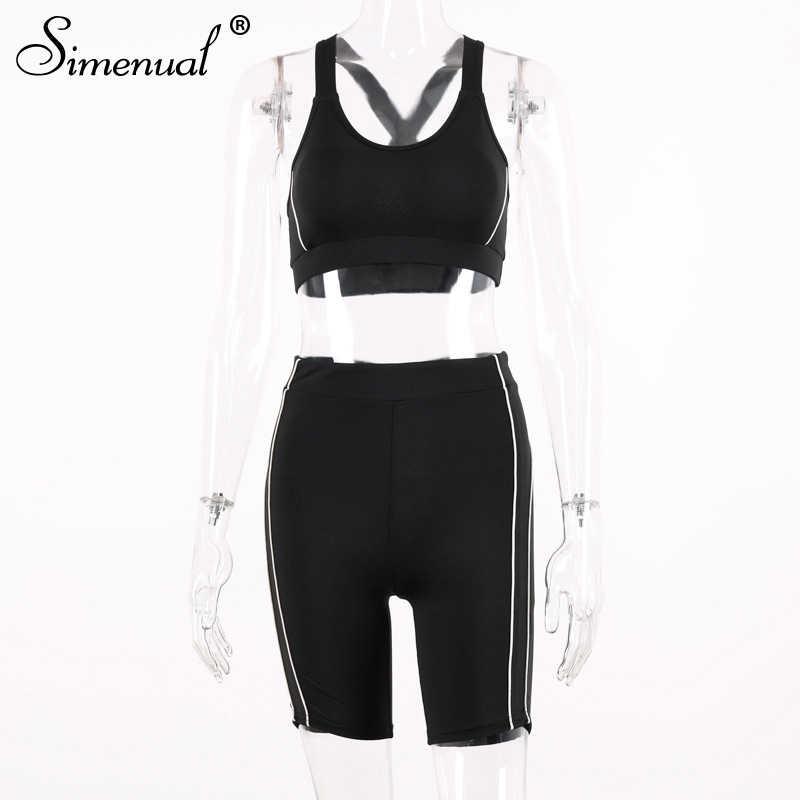 Simenual カジュアルスポーティアクティブ着用ツーピースセット女性ファッション夏 2019 マッチングセットタンクトップとバイカーパンツ衣装基本