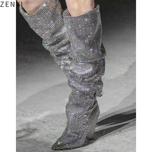 Knee-High Women Fashion Pointed Toe Bling Bling Over Knee Rhinestone Boots Crystal Long High Heel Boots Luxury Thin Heel Boots цены