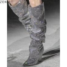 лучшая цена Knee-High Women Fashion Pointed Toe Bling Bling Over Knee Rhinestone Boots Crystal Long High Heel Boots Luxury Thin Heel Boots