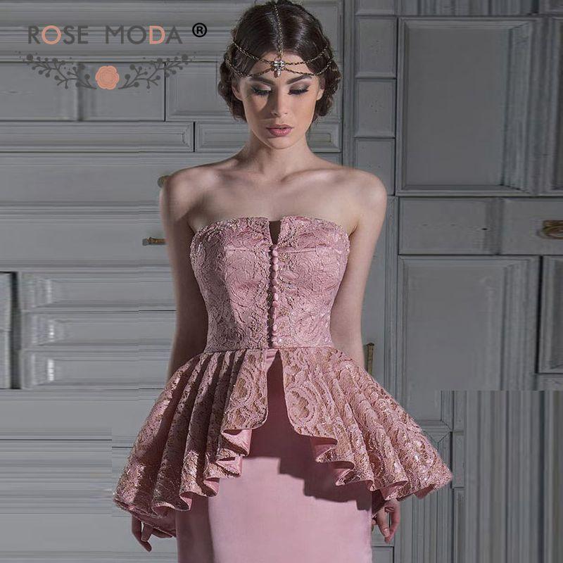 Розовый Moda без бретелек Кружева баски пыльная роза розовое вечернее платье формальное платье на заказ