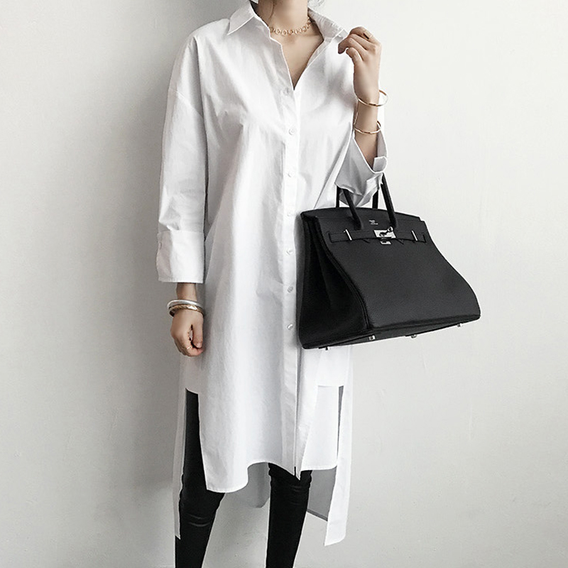 BGTEEVER White Long Loose   Blouse   Turn-down Collar Side Split Women   Blouses     Shirts   Summer Single Breasted Casual Tops blusas 2019
