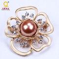 Elegant fashion mother of pearl big round bead brooch shiny rhinestone metal jewelry