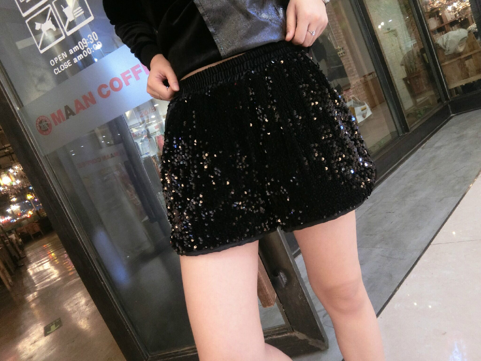 Casual Women High Waist Shorts Drawstring Shiny Sequined Casual Lady Trousers Velour Superelast Hip Hop Female Sequins