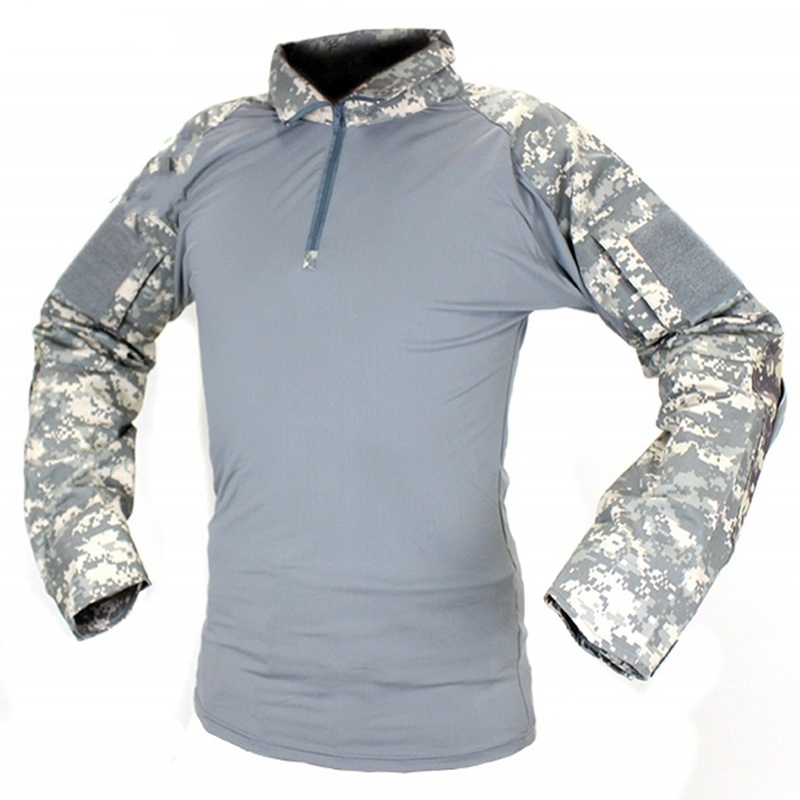 CQC Military Army Tactical Shirt Gen2 Camo Long Sleeve Men ACU Hunting Paintball Airsoft BDU Combat T Shirt With Elbow Pads