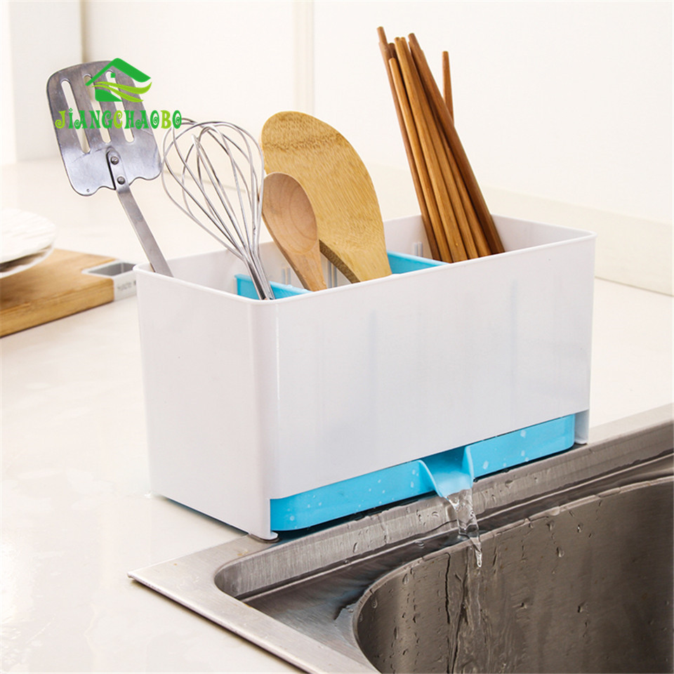 Creativo separados lavable Platos drenaje rack cocina escurridor  organizador caja de almacenamiento cuchara espátula Palillos Cepillos  titular 14c2805ce14d