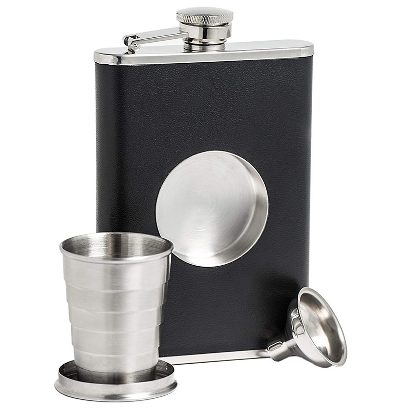 Shot Hip Flask Set 8 oz with Built-in Collapsible 2 Glass and Funnel Pocket for Alcohol Whiskey Man Gift
