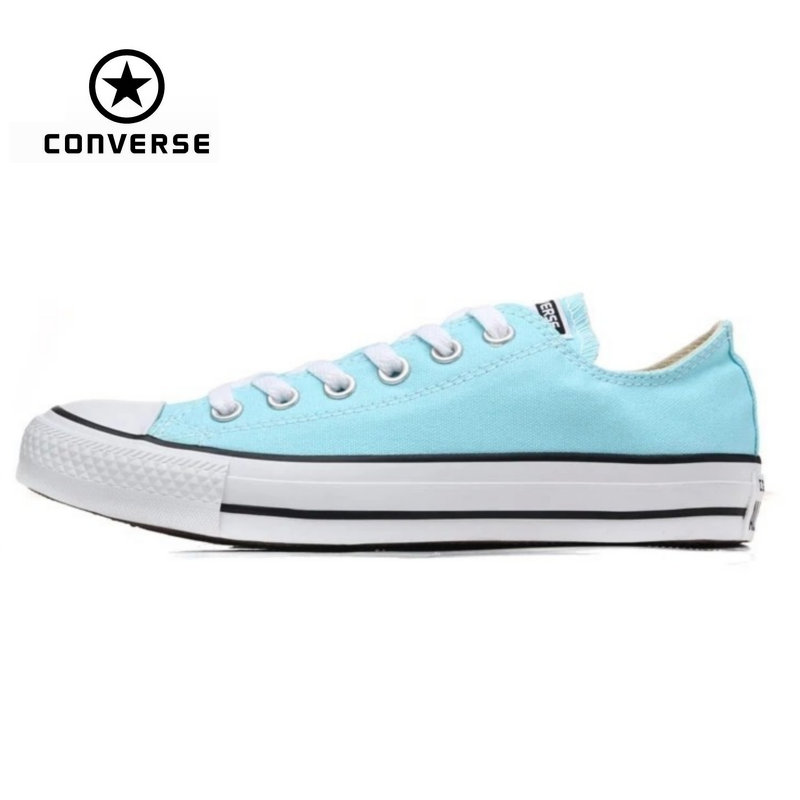 Original Converse all star Aqua and pink color canvas shoes men's and women's sneakers low classic Skateboarding Shoes classic original converse all star men and women sneakers canvas shoes all black and beige low skateboarding shoes
