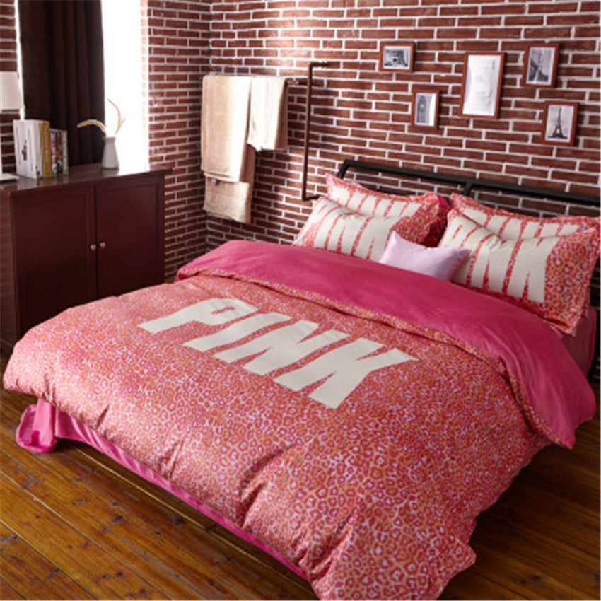 Velvet victoria pink secret vs bedding set linens comforter bed sheet pillow covers 4pcs queen size comforter duvet cover set