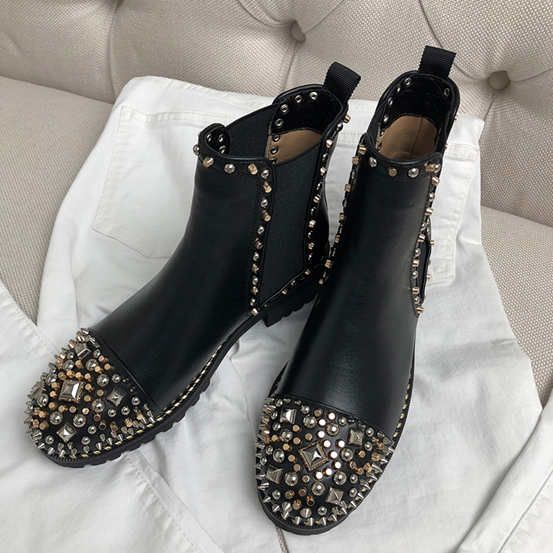 2018 Chic Ankle Boots Woman Rivet Rhinestone Round Toe Heel Fashion Chelsea