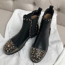 2018 Chic Ankle Boots Woman Rivet Rhinestone Round Toe Heel Fashion Chelsea