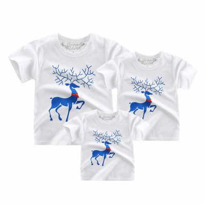 ครอบครัวเสื้อพ่อแม่เด็ก tshirt แม่ลูกสาวการจับคู่ชุดเสื้อผ้าเด็กเสื้อผ้าฤดูร้อนสาวแขนสั้น tees