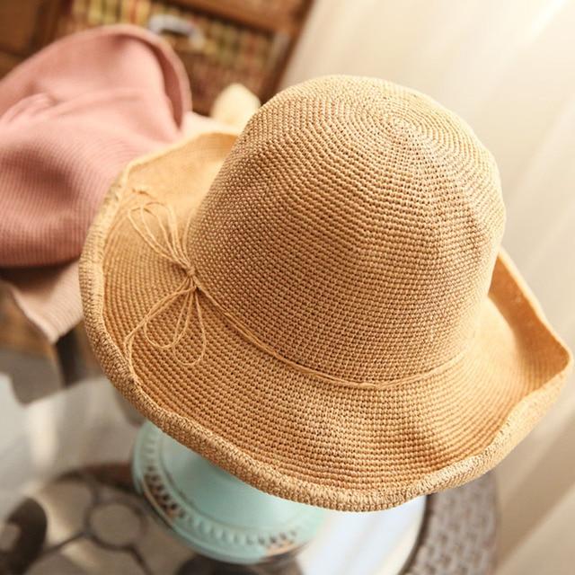 [DRESSUUP]Summer Handmade Straw Hat Women's Garland Sunbonnet Bucket hat roll-up hem Beach Cap Dome Sun Hat for Women chapeu