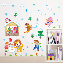 Winter snow animals skiing children snowman wall stickers ki