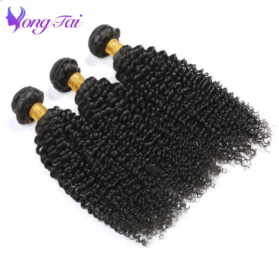 Yongtai Kinky Curly 100% Human Hair Bundles Natural Color 3Pcs 10-26 Peruvian Remy Hair Weaving Machine Double Free Shipping